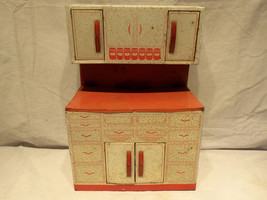 Vintage 1950s Wolverine Tin Litho Red U0026amp; White Kitchen Cabinet Child Toy  Playset   $58.79