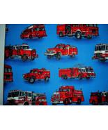 Robert Kaufman Moving On Fire Trucks Fabric 17 x 17 - $2.00