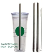 2 Starbucks Replacement Straws Stainless Steel Reusable, Washable Drinki... - $7.91