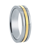 Ladies or Men's 6mm Tungsten Band with Gold Center - $49.99