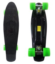 Black Skate Board Smooth Green Wheels Classic Vintage Style Small Cruise... - $75.23