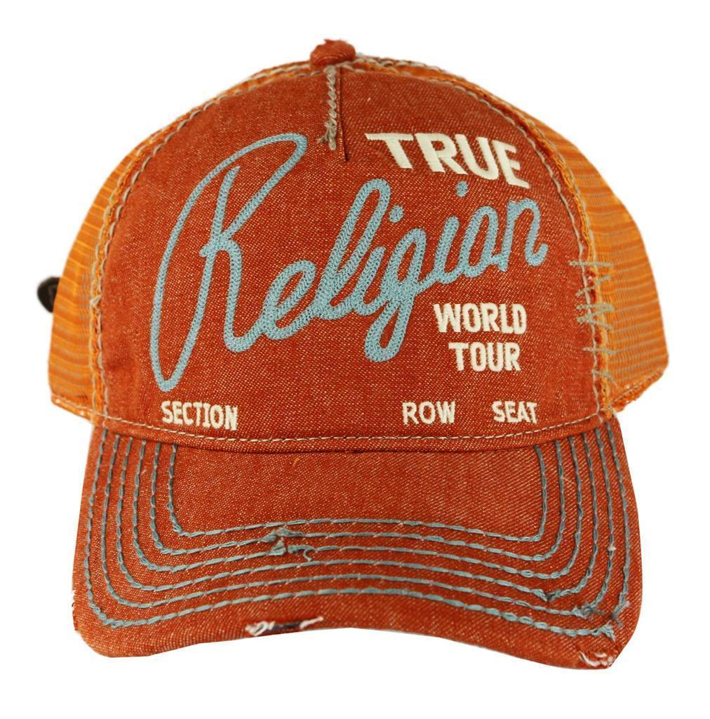 NEW TRUE RELIGION UNISEX DISTRESSED BASEBALL HAT CAP ORANGE TR1749