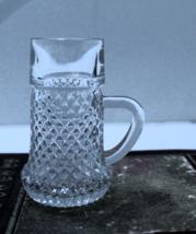 Vintage Miniature Pressed Glass Diamond Pattern Mug Toothpick Holder - $4.50