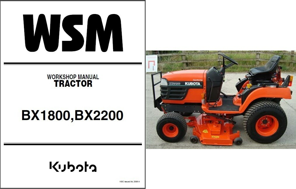 Kubota Bx1800 Bx2200 Tractor Workshop Service U0026 Repair Manual Guide