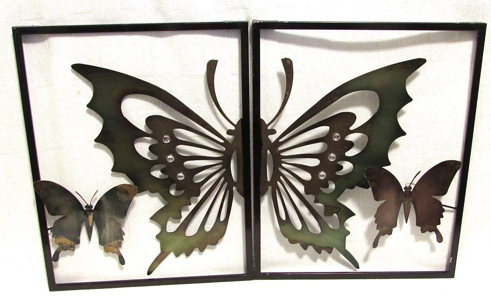 Two-Piece Metal Wall Art Winged Butterflies w/Rhinestone Embellished Wings