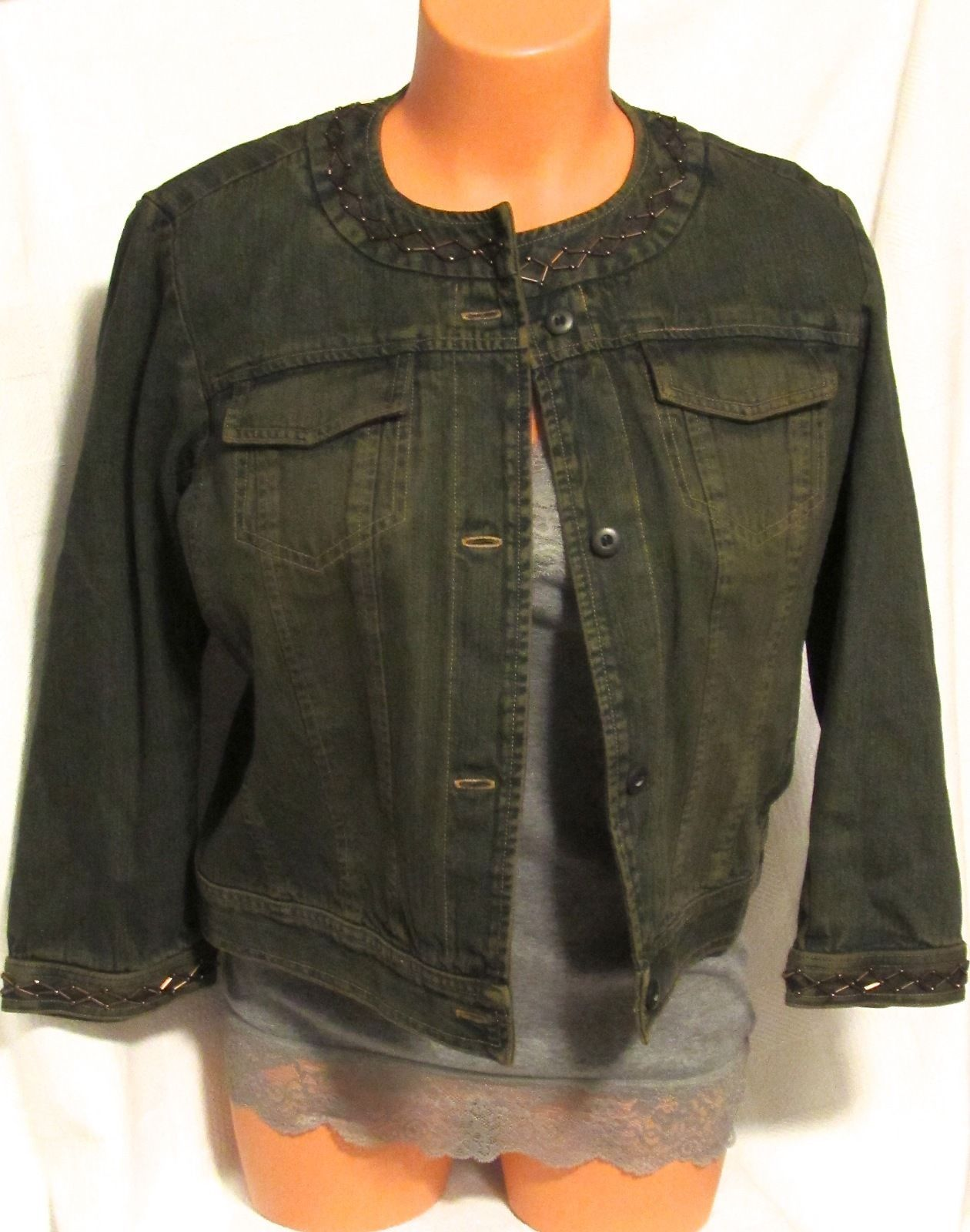 db Collection Denim Jacket w/Embellished Neckline and Sleeve Cuff S: 10
