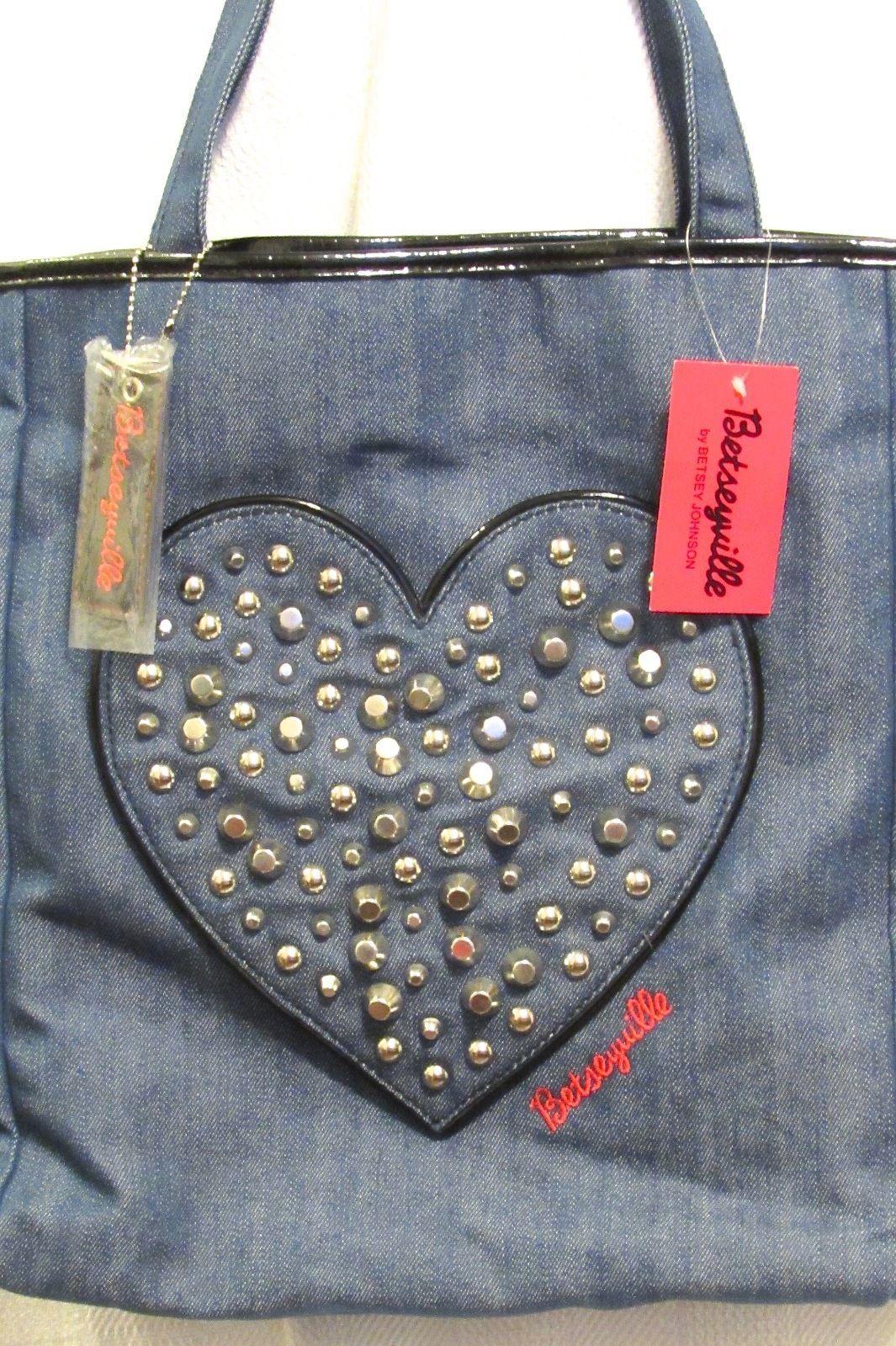 Betseyville by Betsey Johnson Women's Heart-y Girl Blue Denim Tote