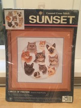 New CATS Cat Faces Cross Stitch Embroidery Kit Crafting Crafts - $19.00