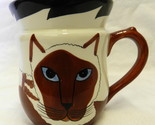 Handpainted Collectible Cats Brown White Blue Eye Kitty Coffee Cup Mug