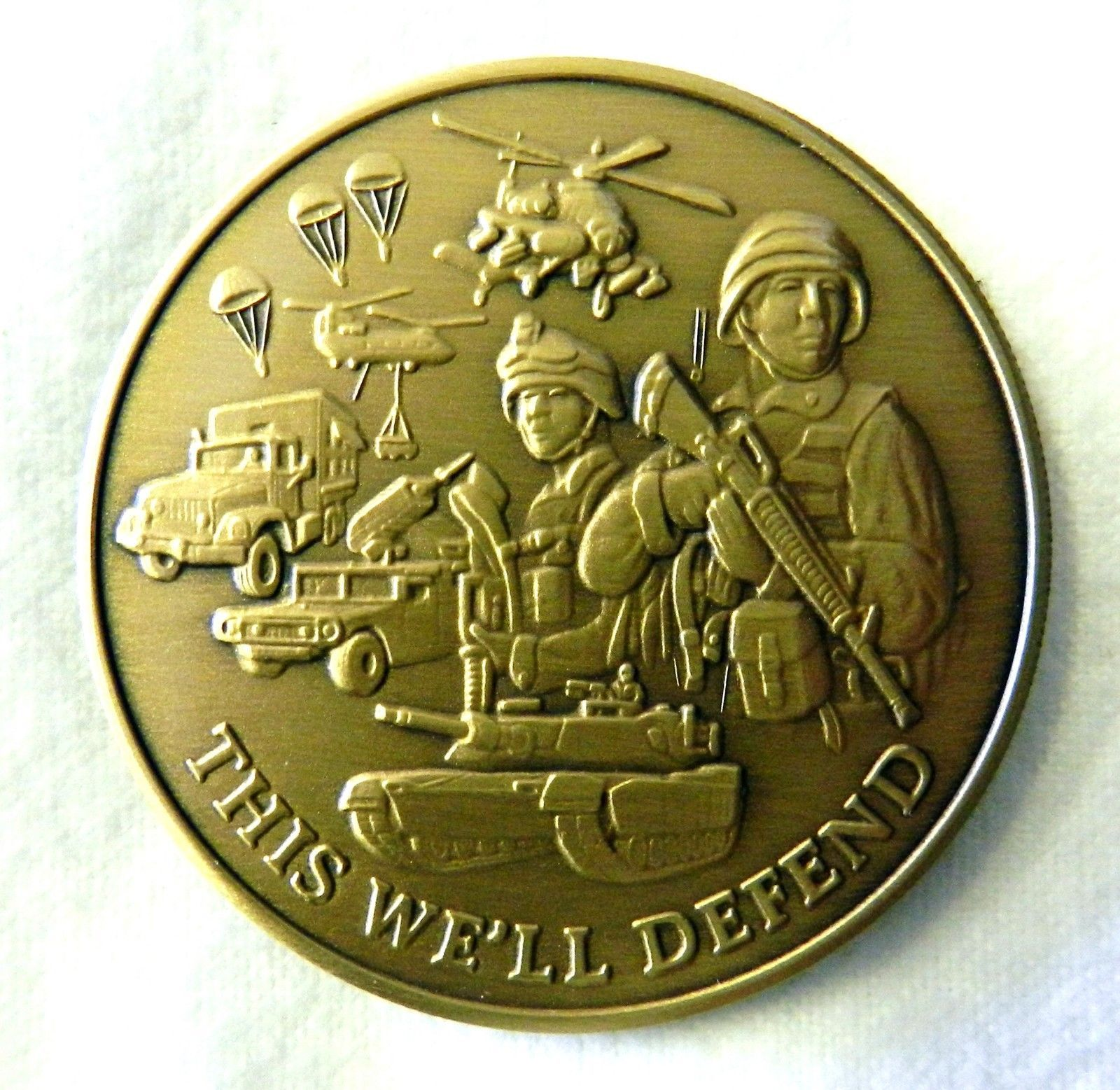 US Army Military This We`ll Defend Medallion Antique Bronze Challenge Coin