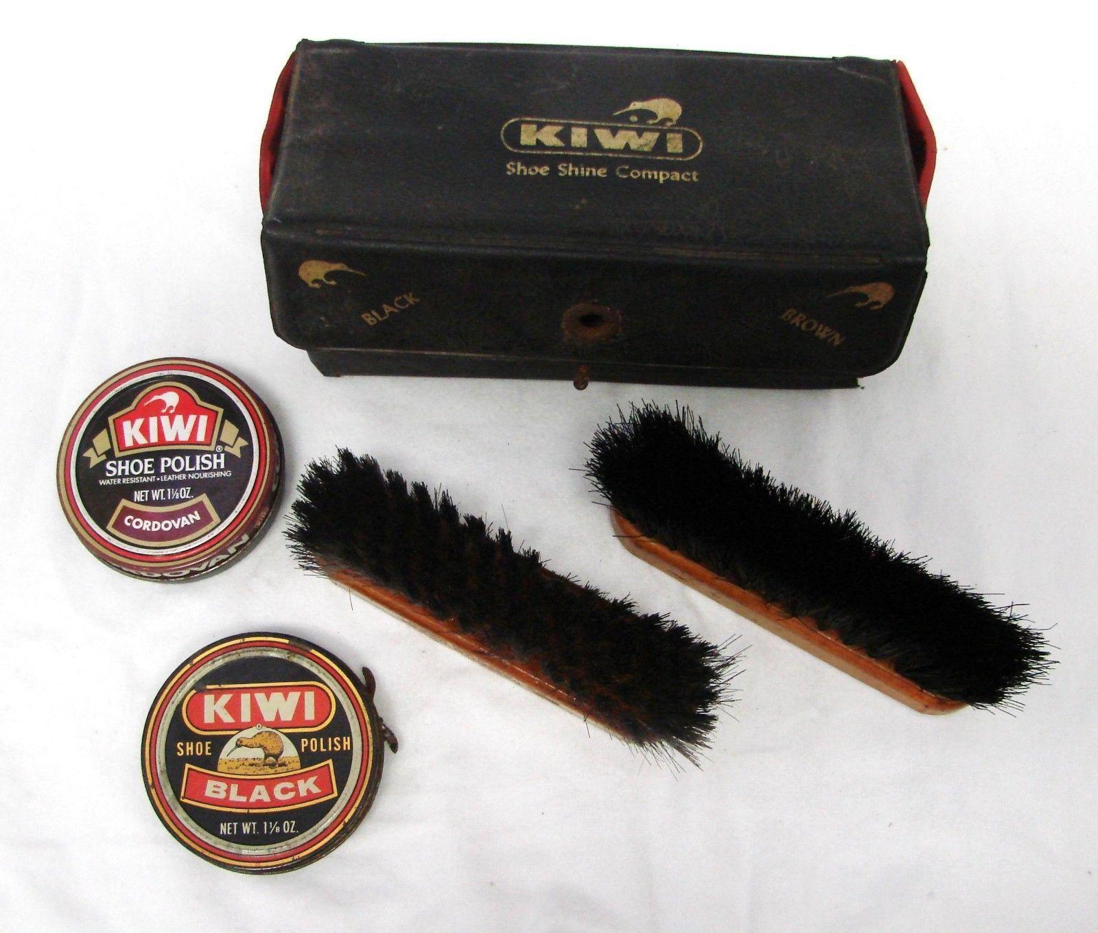 Vintage Kiwi Shoe Shine Vinyl Compact Travel Kit Wood Brushes Polish