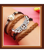 Brown Pearl Heart Peace Sign with Wings Multi Layered Wrap Bracelet Women's - $5.50
