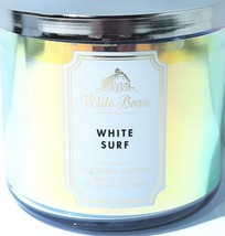 Bath & Body Works White Surf 3 Wick Candle in Blue Holographic Jar - $25.39