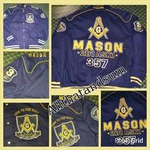 Freemason Mason Masonic Blue Gold Long sleeve twill Mason Jacket Coat M-5X - $129.99