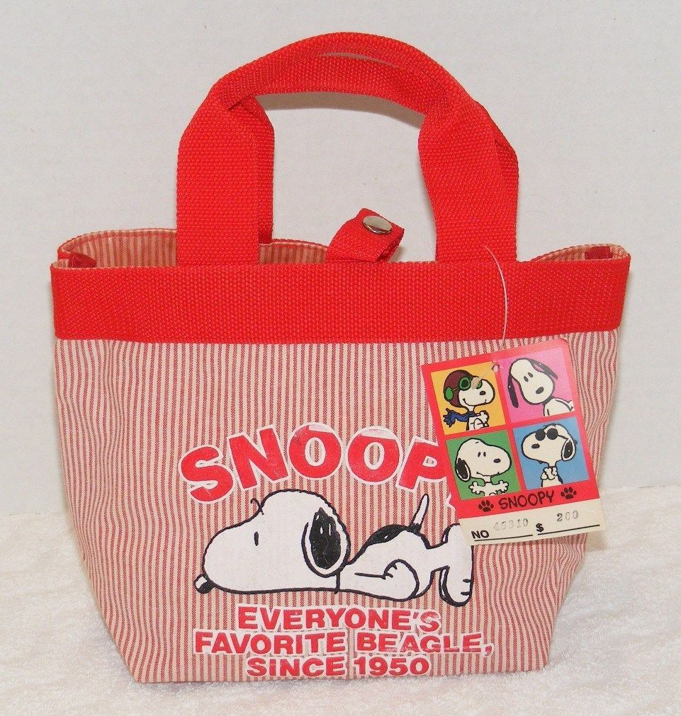 "Primary image for NWT SNOOPY PEANUTS 7"" RED & WHITE Everyone's Favorite Beagle Tote/ Lunch Bag"