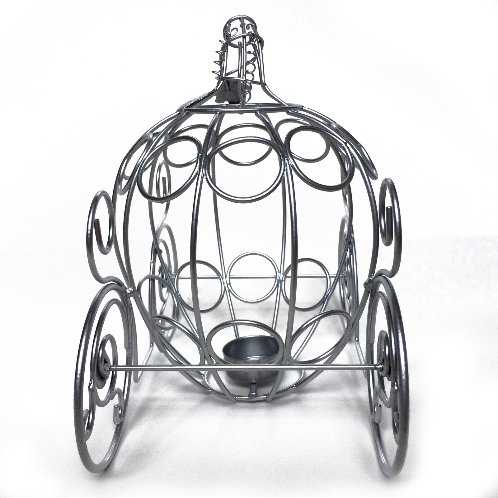 LAST CHANCE! Fairytale Dreams Centerpiece - Silver Metal Pumpkin Coach