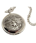 Solid pewter fronted quartz pocket watch - Fly Fishing design 27 - $60.26