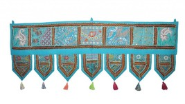 Indian Cotton Topper Toran Embroidered Decor An... - $24.75