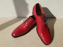 Handmade Red Heart Medallion Lace up Dress/Formal Oxford Shoes For Men image 2
