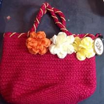 The Sak Pink Beaded Bag Flowers Carnations Flora Style Wood Beads Handba... - $58.41