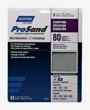 Norton ProSand SANDPAPER SHEETS 3 ct Stripping 80 Grit Coarse All Surfac... - $8.99