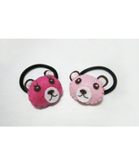 2 Pieces Puffy Felt Pink Bear Head Ponytail Holder. Pink Teddy Bear Hair... - $21.00