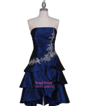 An item in the Fashion category: Royal Blue Strapless Taffeta Tier Knee Length A-line Cocktail Dress With Flowery