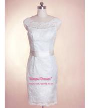 Short Lace Wedding Dresses With Sleeves, Short Wedding Dress With Sash - $152.00+