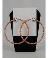 Rose Gold Twisted Hoop Earrings - $28.00