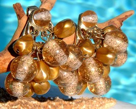 Vintage Dangle Clip On Earrings Cluster Lucite Beads Gold Glitter - $24.95
