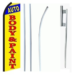 AC Service Auto Body /& Paint Welcome King Swooper Feather Flag Sign Kit with Pole and Ground Spike Pack of 3
