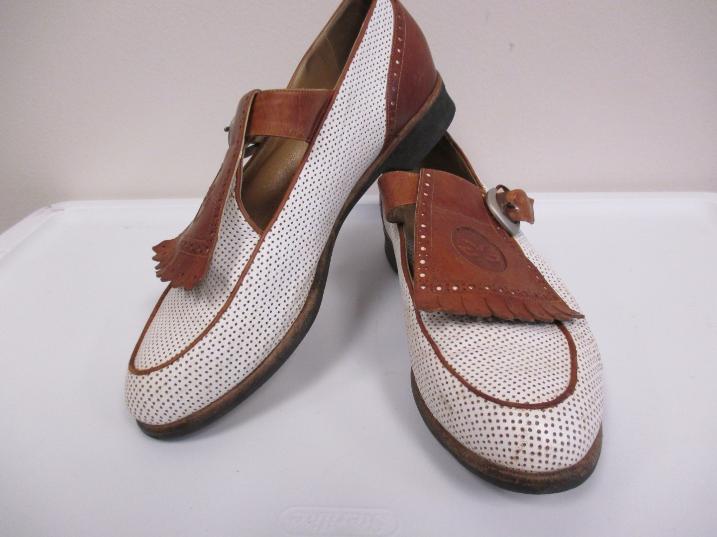walter genuin brown white leather golf shoes w buckel on