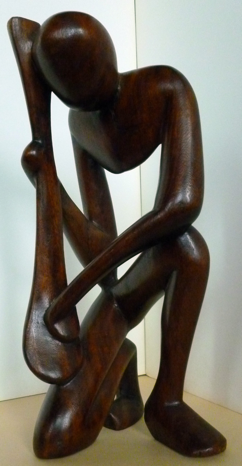 Primary image for Mid-Century Vintage Abstract African Folk Art Wood Carving of a Musician .
