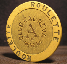 """1990's Roulette Chip From: """"The Club Cal-Neva Casino""""- (sku#2955) - $2.99"""