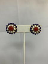 Vintage Prong Set Red, White & Blue Faceted Glass Clip On Earrings (1771) - $10.00
