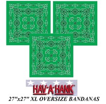 "3-XL SUPER BIG OVERSIZE GREEN PAISLEY 27""Bandanna Cotton BANDANA Head Wr... - $23.99"