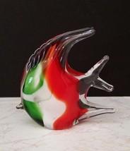 "HAND BLOWN ART GREEN/WHITE/RED ANGEL FISH FIGURINE - 4 1/4"" LONG - $15.49"