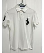 POLO Ralph Lauren men's custom slim fit polo shirt white short sleeve si... - $19.69