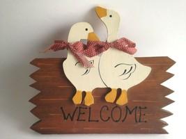"WELCOME Wood Plaque Country Duck Hand Painted Wall Hanging 10"" X 5.5"" X 1"" - $12.62"