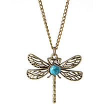 BRASS HALLOW DRAGONFLY NECKLACE   >> COMBINED SHIPPING <<  (8414) - $3.71