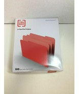 NEW TRU RED File Folders, 1/3 Cut, Letter Size, Red, 100/Box - $17.95