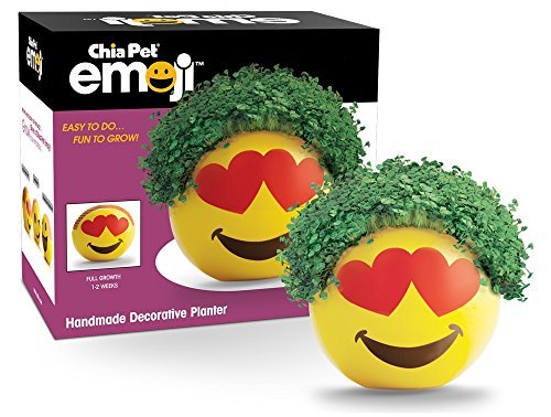 Chia Pet Emoji-Heart Eyes Decorative Pottery Planter, Easy to Do and Fun to Grow - $19.99