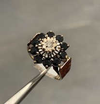 9k Gold Sapphire And Diamond Ring Flower Cluster ring Size L BHS - $406.63