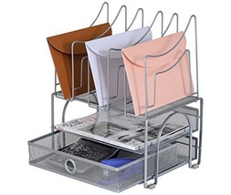 EasyPAG Mesh Desk Organizer Sliding Drawer Double Tray with 5 Upright Se... - $30.32