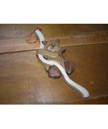 Estate Handmade Carved Wood Mosaic Kitty Cat Hanging on Pole Window Deco... - $13.99