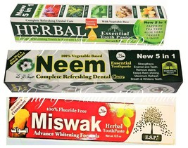 HERBAL, MISWAK, NEEM ESSENTIAL TOOTHPASTE ORAL CARE 18 PACK (shipping free) - $39.26