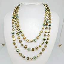 "Natural Baroque Pearl & Glass Bead Statement Necklace 18"" Chic Bib Necklace - $14.97"