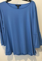 NWT ELLEN TRACY BLUE Bell SLEEVE BLOUSE XL - $21.06