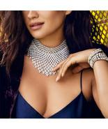 Women Crystal Statement Necklace Tassel Choker Collar Bib Jewelry Gift F... - $5.69