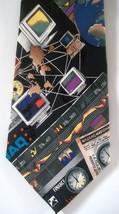 Nicole Miller Nasdaq Stock Exchange Ticker Symbols Silk Neck Tie Graphs Clocks - $19.75